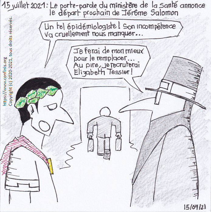 15 juillet 2021 : Le porte parole du ministère de la Santé annonce le départ prochain de Jérôme Salomon