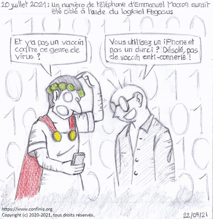 20 juillet 2021 : Un numéro de téléphone d'Emmanuel Macron a été ciblé à l'aide du logiciel Pegasus